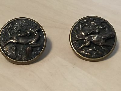 2 x Antique Brass Hunting Scene Badges
