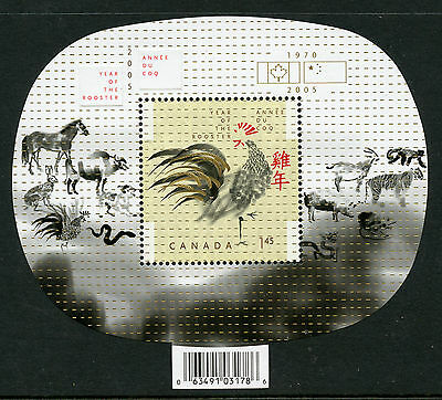 Weeda Canada 2084a VF MNH Souvenir Sheet with flags and dates, Rooster CV $4.50