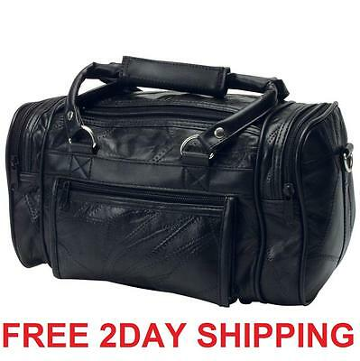 Genuine Leather Tote Bag Travel Luggage Suitcase Gym Duffle Carry Zipper Blackv