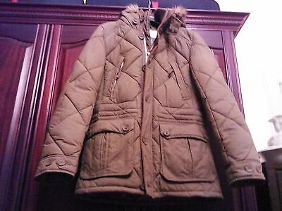 Men's next khaki brown padded winter parka coat, size small.