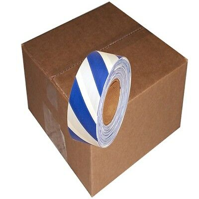 Blue / White Safety Stripe 12 Rolls Flagging Tape 1 3/16 in x 300 ft