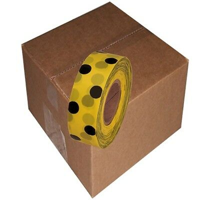 Yellow / Black 12 Rolls Flagging Polka Dot Tape 1 3/16 in x 300 ft Non-Adhesive