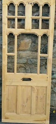 Victorian Edwardian Front Door Old Period Wood Reclaimed Antique Stripped Pine.
