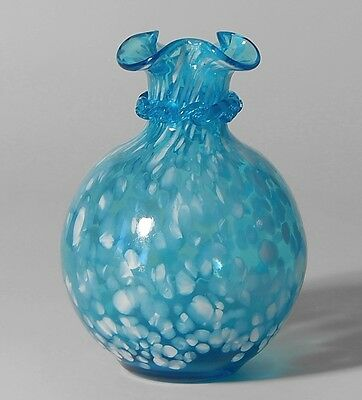 PILGRIM Art Glass Vintage Blue Spatter Glass Ruffled Bud Vase w/Rigaree