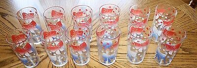 Vintage/Mid Century Federal Glass Red~White~Blue Polka Dot Bows Drink Glasses 12