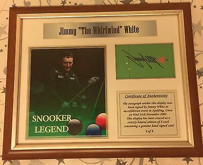 Snooker Legend Jimmy White Autographed Presentation Picture Frame