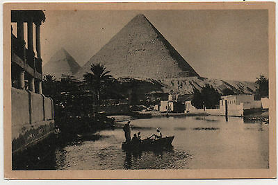 Old  Postcard Cheops Pyramid Egypt
