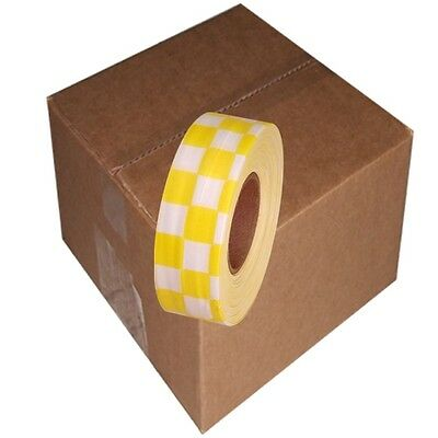 White / Yellow 12 Rolls Flagging Checkerboard Tape 1 3/16 in x 300 ft Non-Adhesi