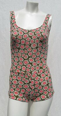 Vtg 60s CATALINA Olive Pink Floral Print Molded Bra Swimsuit size S 4 6 (tag 12)
