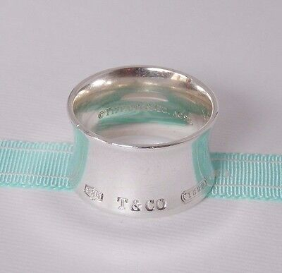 Tiffany & Co Size 6.5 Sterling Silver Wide 1837 Concave Ring Band with Pouch