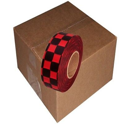 Black / Red 12 Rolls Flagging Checkerboard Tape 1 3/16 in x 300 ft Non-Adhesive