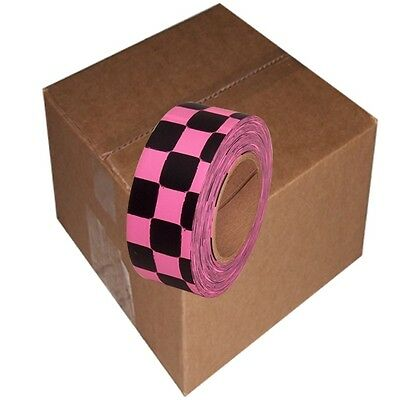 12 Roll  Fluorescent Pink / Black Checkerboard Flagging Tape 1 3/16 in x 100 ft