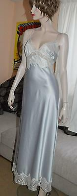Glossy wet look SILVER silky satin long gown Chemise 16