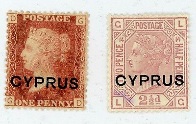 1880 Cyprus Stamps #2 (P 218) & #3 (P14) MINT, H