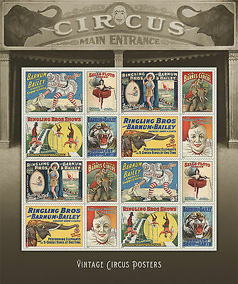 US VINTAGE CIRCUS FOREVER STAMPS SHEET of 16 (2014) NEW MINT