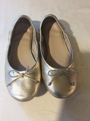American Eagle Girl's Gold Ballet Flats SZ 1 Youth Bow on Toe
