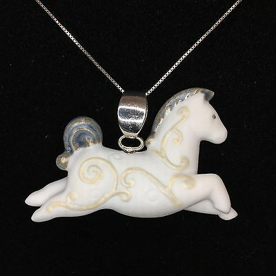 "Lladro 2003 ""Freedom"" Porcelain & Sterling Silver Horse Pendant & Chain RARE"