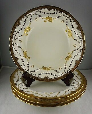 4 Minton China Rimmed Soup Bowls Gold Encrusted Flowers & Vining Leaves #59097