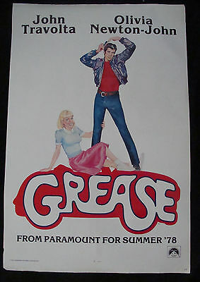 GREASE advance movie poster OLIVIA NEWTON JOHN TRAVOLTA Original 1978 One sheet
