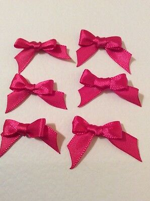 10 Pretty Bright Rose Pink 10mm Ribbon bows �� for card making/scrap booking