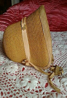 Childs Antique late Victorian/ Edwardian straw bonnet