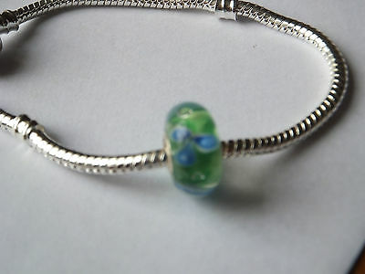 SALE BRIGHT GREEN Murano Glass Bead inset BLUE FLOWER 925 4mm Core