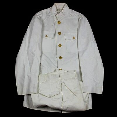 Wwii Us Navy Usn Naval Officer White Cotton Dress Jacket Chocker Trousers Pants