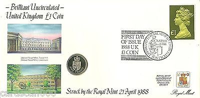 Rare Great Britain First Day of Issue 1988 £1 coin cover with SG 1026 £1 Stamp