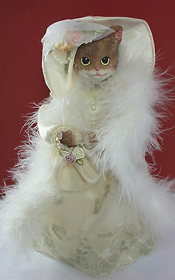 "Victorian Cat Doll with Hat & Feather Boa Stand Up 11""  - Vintage & Perfect!"