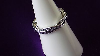 Pandora Braided PAVE  Size 60 Ring. Sterling Silver S925 ALE