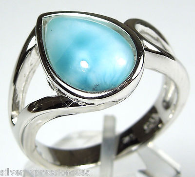 Rare AAA Genuine Dominican Larimar Solid 925 Sterling Silver Ring Size 6.5 or 9