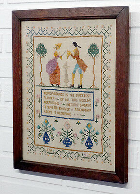 1930's Vintage FOLK ART Freindship Memory CROSS-STITCH NEEDLEPOINT SAMPLER Deco