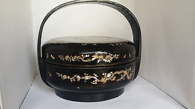 Antique Chinese Mother of Pearl inlay Lacquer Sectional Wedding/Food/ Basket