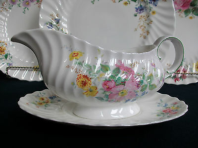 Royal Doulton Arcadia- Scalloped-Green Mark- Gravy Boat & Saucer-Excellent!