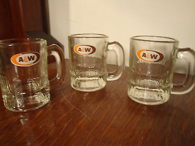 Vintage A&W Mini Root Beer Mugs Set of 3  No Reserve