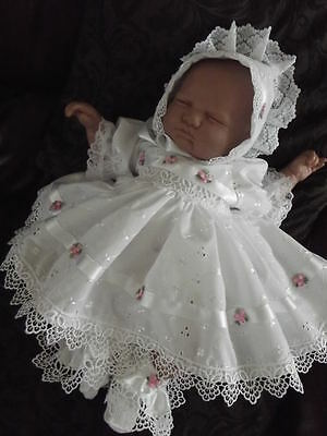 Dream Guipure  Rosebud Dress Bonnet Nb 0-3 3-6 6-12 Months Or Reborn Dolls