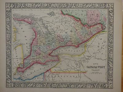 Original  Hand-Colored Map of Canada West from Mitchell's 1860 Atlas, Ontario