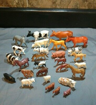 Huge lot of 28 Farm Animals Horse Sheep Cows Pigs Goat more Various sizes