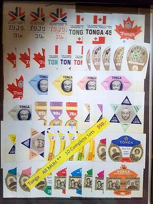 Tonga 10 Complete Stamp Sets All Mint Unhinged