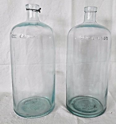"2 Vintage Blue Aqua Glass Spring Water One Gallon Bottles 14"" Odell's embossed"