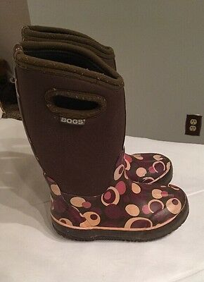 BOGS Classic Waterproof BootS Bubbles Youth size 12 brown , purple, and Pink