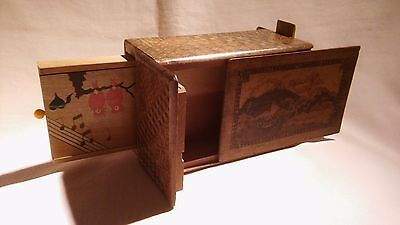 Vintage Antique Japanese Carved Marquetry Parquetry Wooden Secret Puzzle Box,vgc
