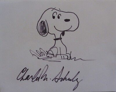 Charles Schulz Signed Snoopy Sketch Drawing