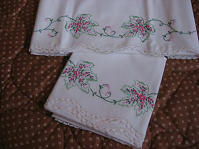Vintage embroidered and crocheted pillow case set
