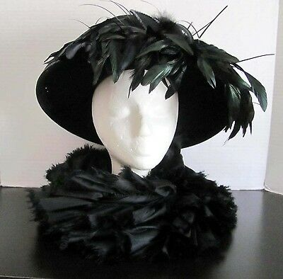 Fabulous Vintage Mr. Hi's Classic Black Wool, Feather and Sequin Dress Hat
