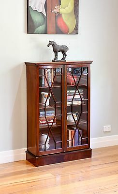 Antique Vintage Georgian Style Glass Display Cabinet / Library Bookcase