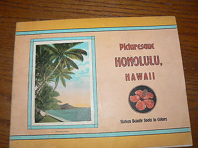 VINTAGE 1920's 30s PICTURESQUE HONOLULU HAWAII 16 COLOR PICTURES NR