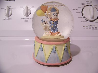 Vintage 1991 Summet Collection Clown Balloon & Dog Musical Water Snow Globe Dome