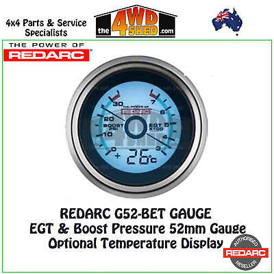 Redarc G52-BET EGT & Boost Pressure Gauge 52mm with Optional Temp Display