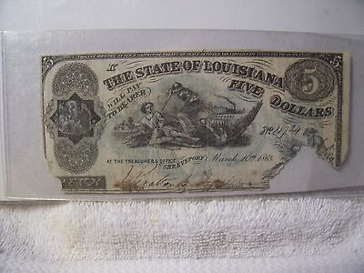 Authentic Obsolete Confederate State Of Louisiana $5 Note Currency 1863